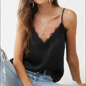 Forever21 black lace trim cami tank - size s